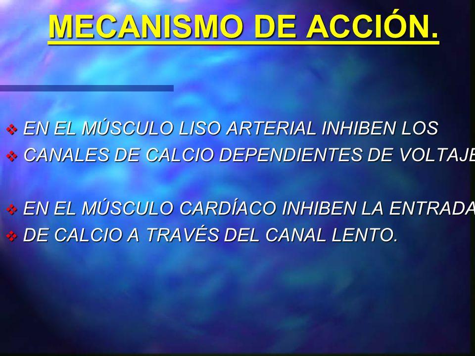 MECANISMO DE ACCIÓN. EN EL MÚSCULO LISO ARTERIAL INHIBEN LOS