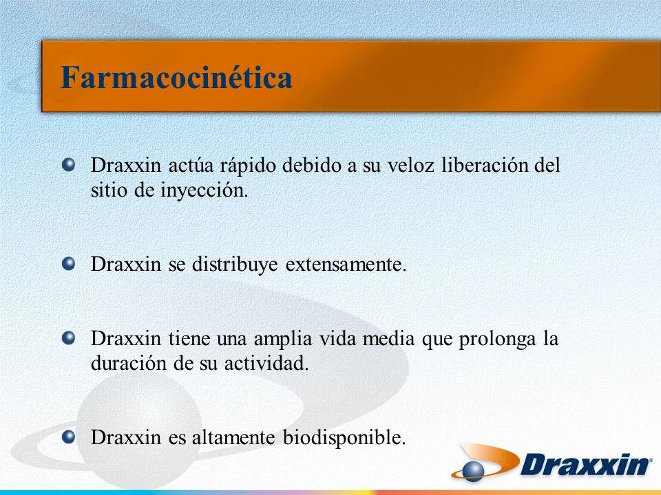 Farmacocinética Draxxin actúa rápido debido a su veloz liberación del sitio de inyección. Draxxin se distribuye extensamente.