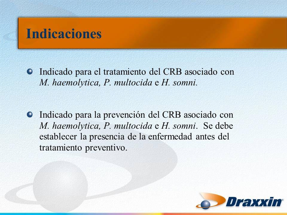 Indicaciones Indicado para el tratamiento del CRB asociado con M. haemolytica, P. multocida e H. somni.