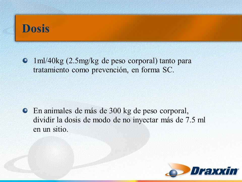 Dosis 1ml/40kg (2.5mg/kg de peso corporal) tanto para tratamiento como prevención, en forma SC.