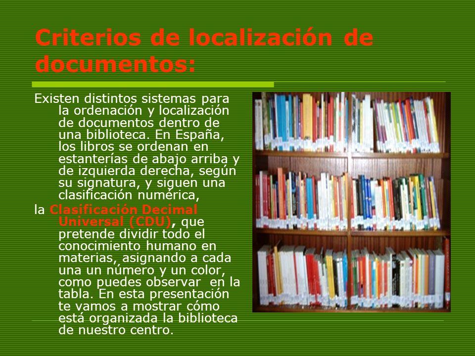 Criterios de localización de documentos: