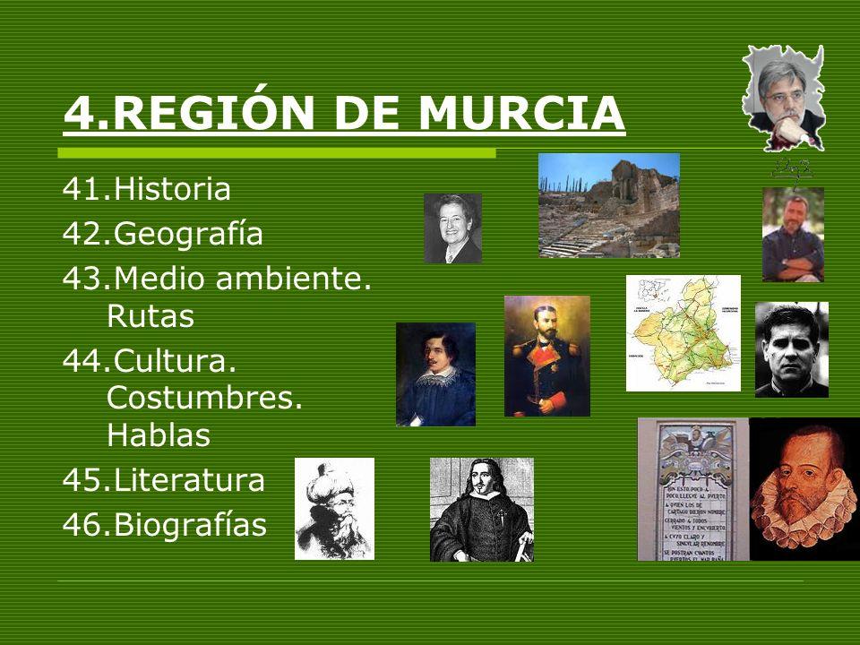 4.REGIÓN DE MURCIA 41.Historia 42.Geografía 43.Medio ambiente. Rutas