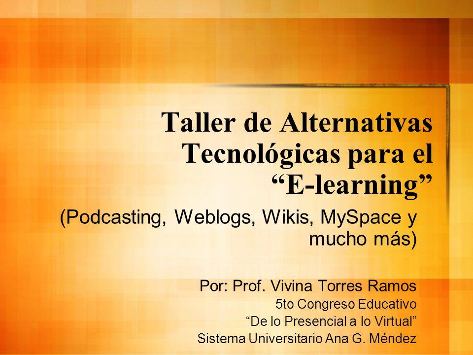 Taller de Alternativas Tecnológicas para el E-learning