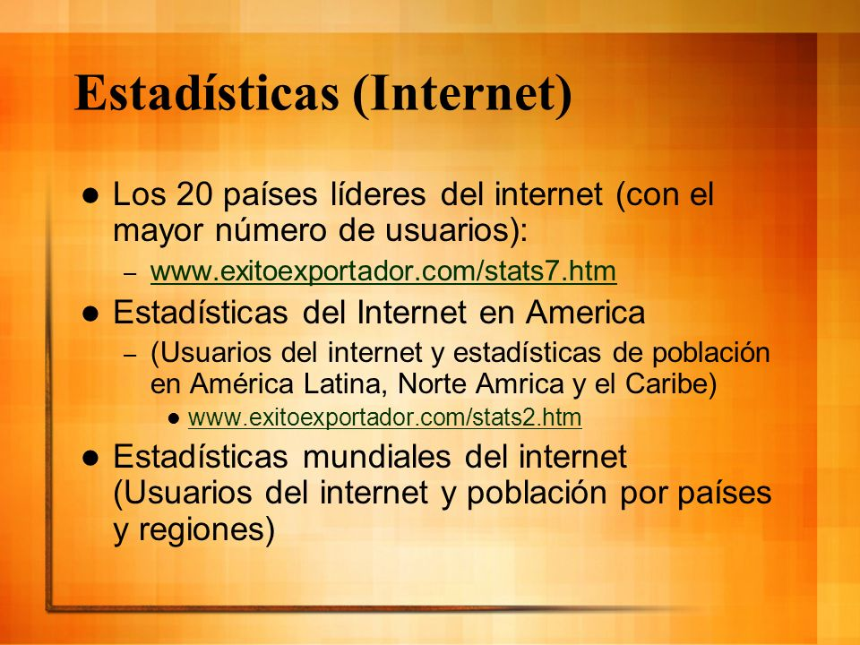Estadísticas (Internet)