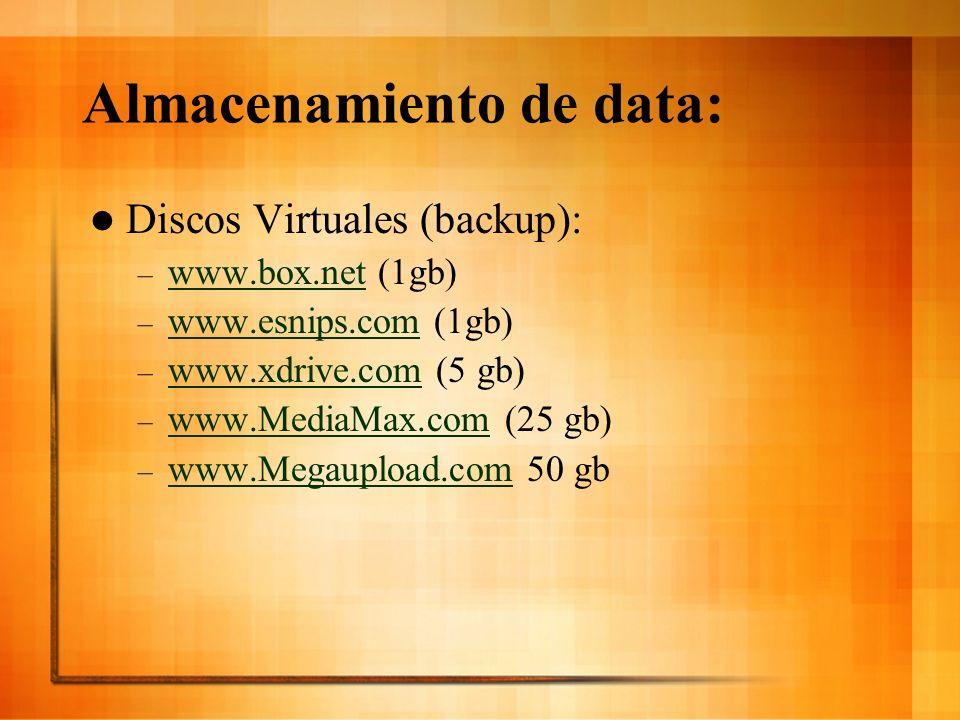Almacenamiento de data: