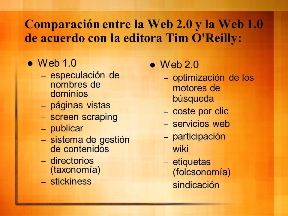 Comparación entre la Web 2. 0 y la Web 1