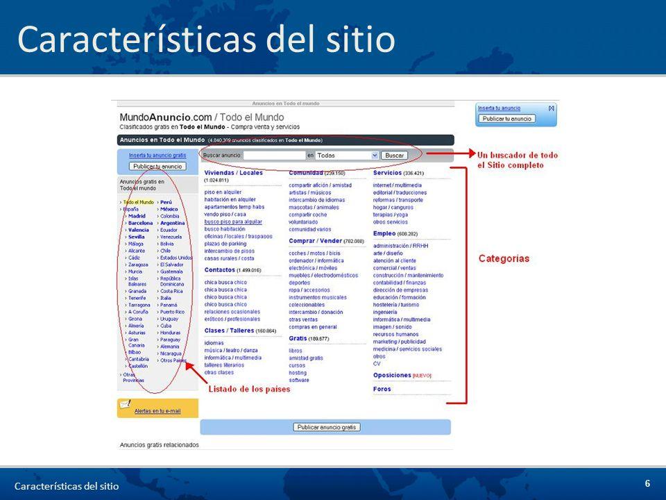 Características del sitio