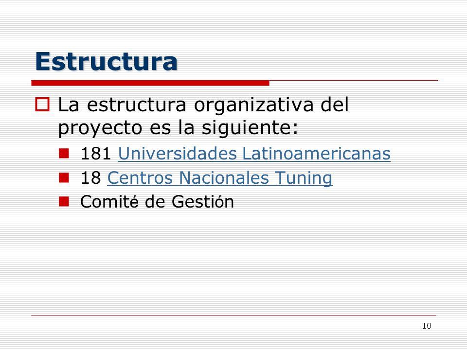 Estructura La estructura organizativa del proyecto es la siguiente: