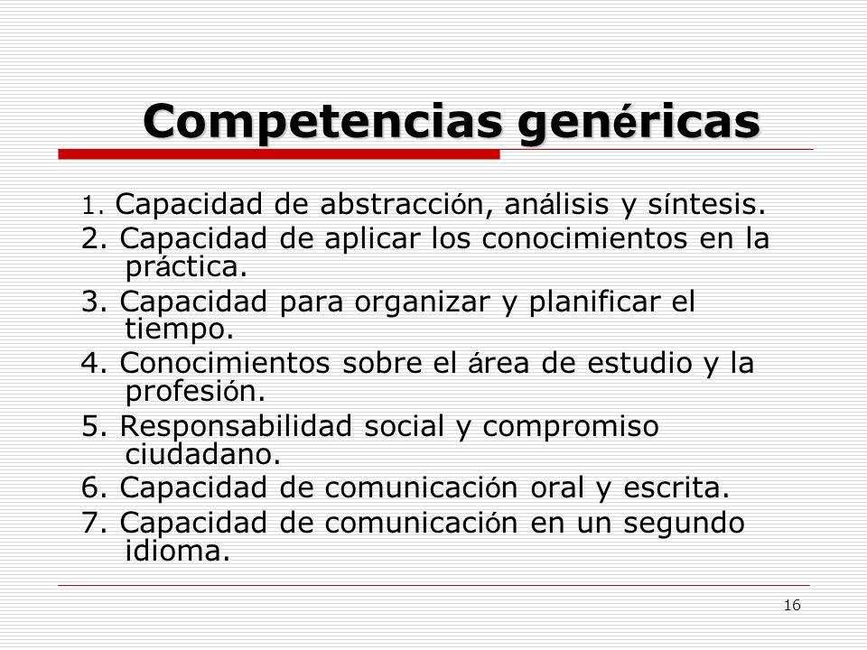 Competencias genéricas