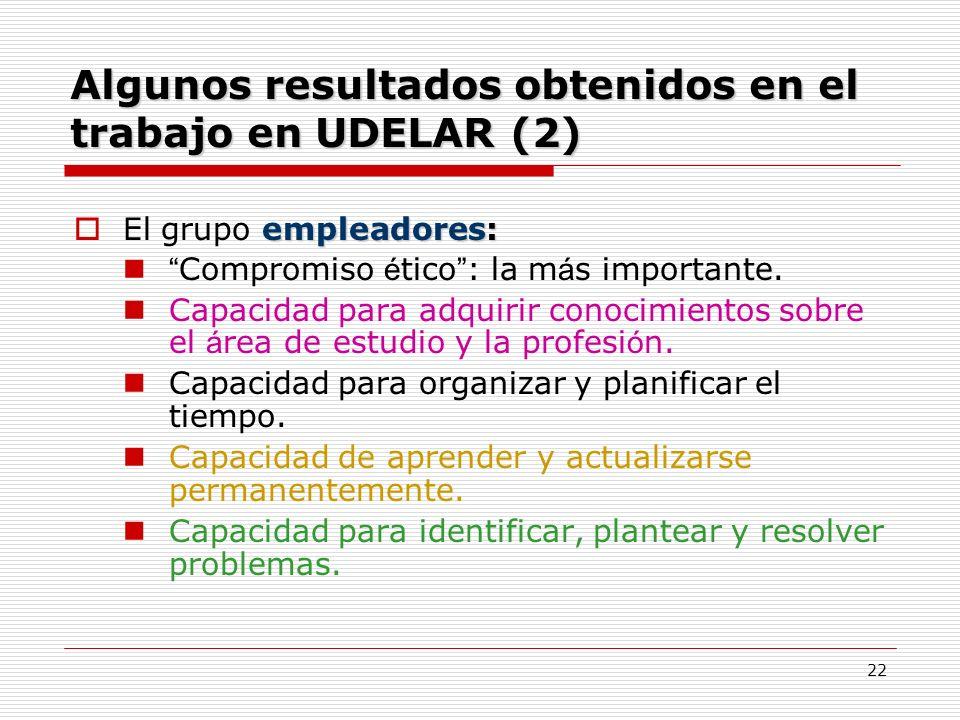 Algunos resultados obtenidos en el trabajo en UDELAR (2)
