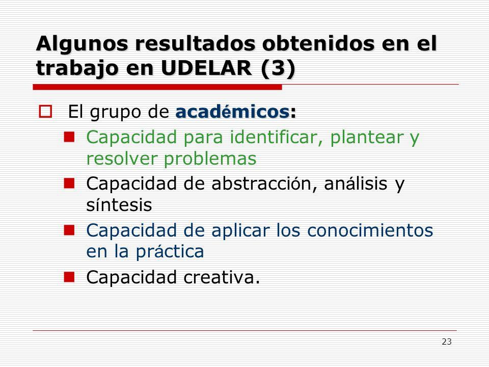 Algunos resultados obtenidos en el trabajo en UDELAR (3)