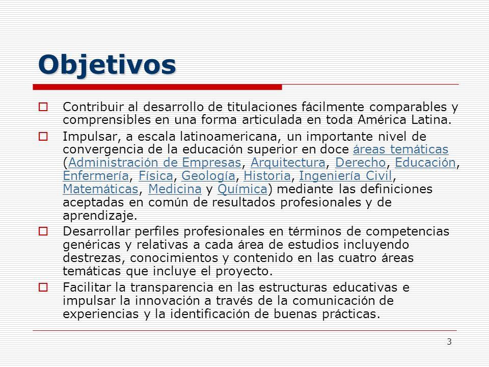 Objetivos Contribuir al desarrollo de titulaciones fácilmente comparables y comprensibles en una forma articulada en toda América Latina.