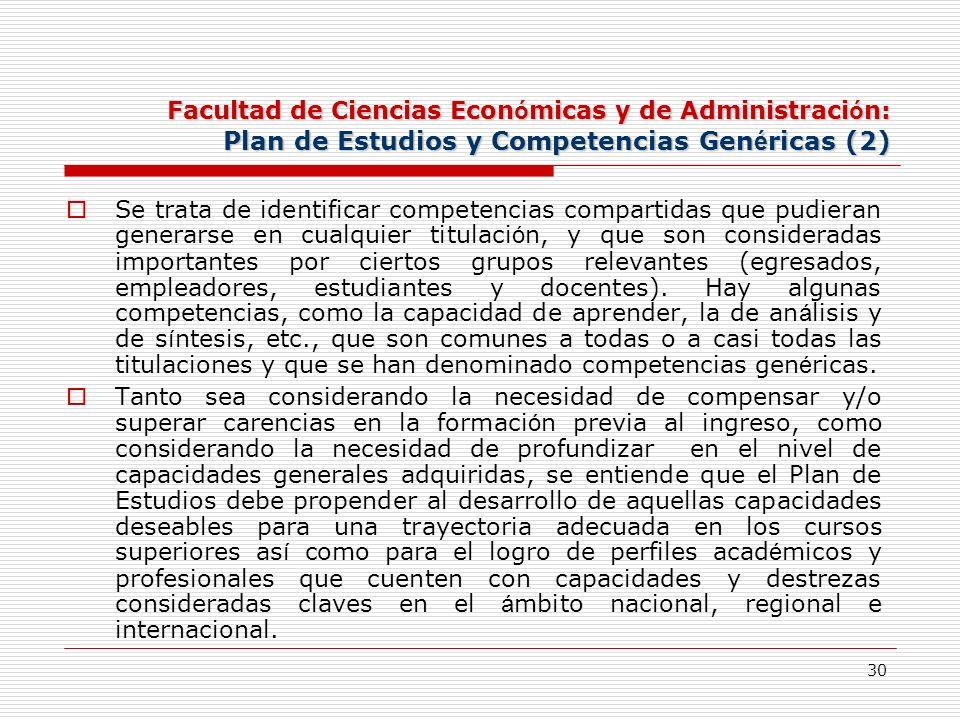 Facultad de Ciencias Económicas y de Administración: Plan de Estudios y Competencias Genéricas (2)