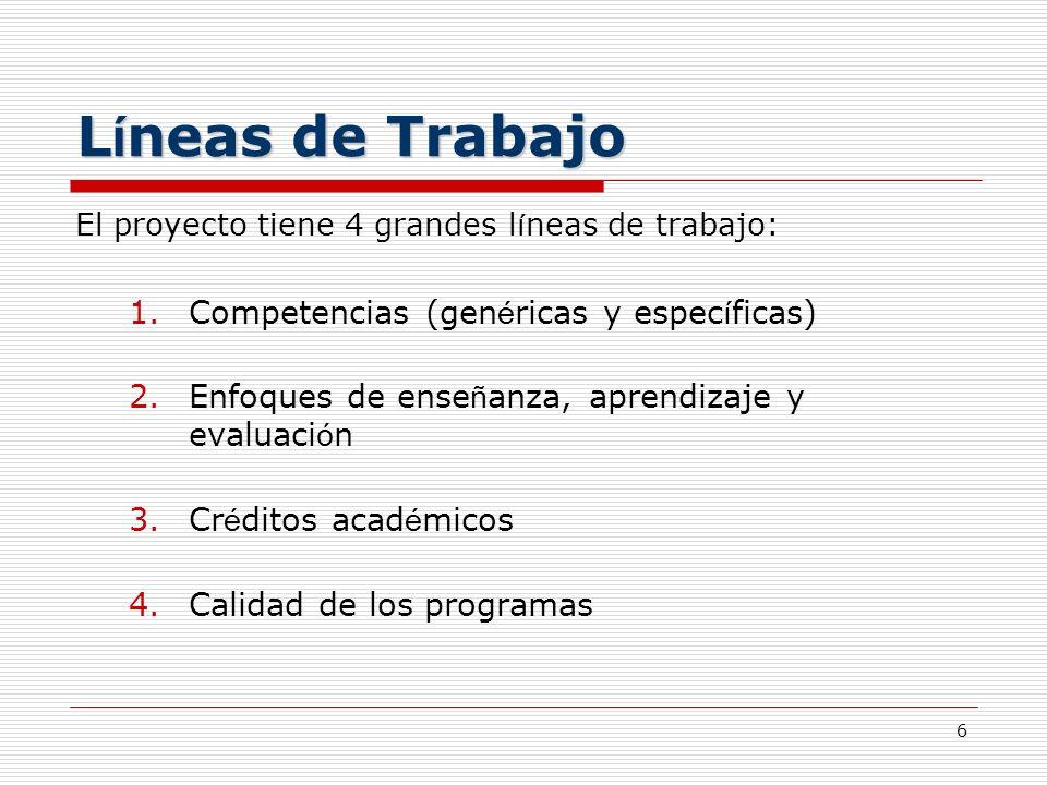 Líneas de Trabajo Competencias (genéricas y específicas)