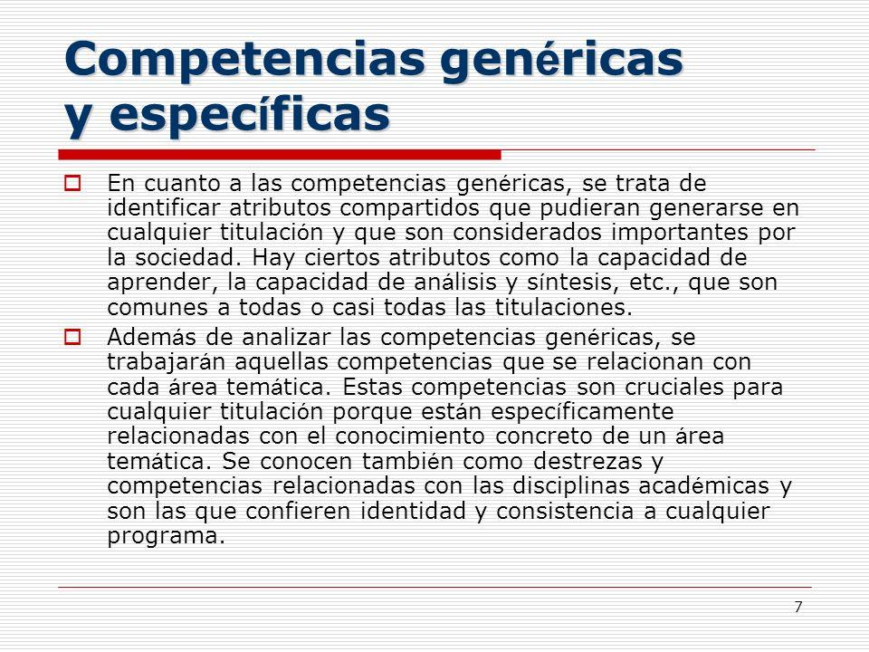 Competencias genéricas y específicas
