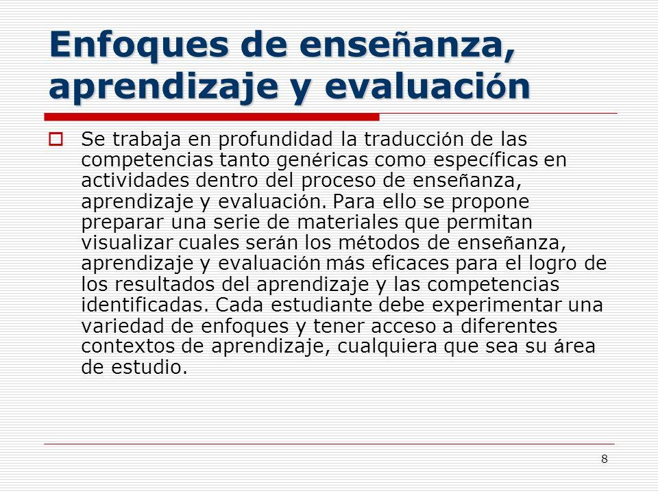 Enfoques de enseñanza, aprendizaje y evaluación