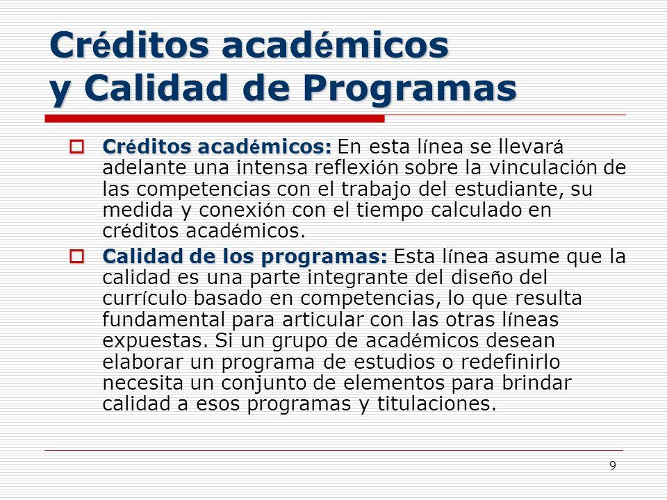 Créditos académicos y Calidad de Programas