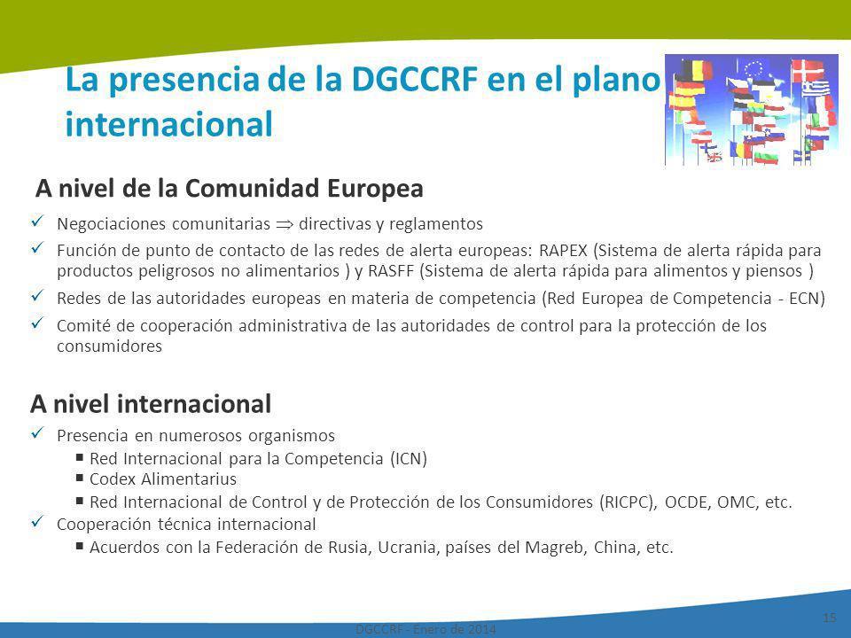 La presencia de la DGCCRF en el plano internacional
