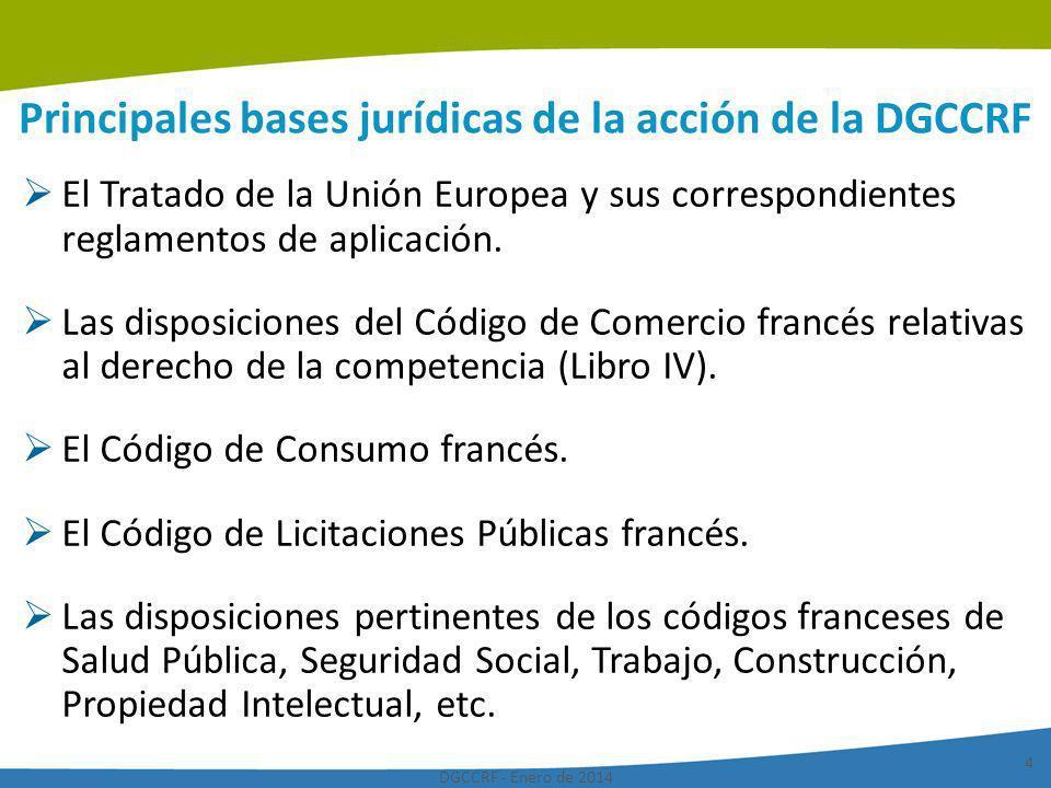 Principales bases jurídicas de la acción de la DGCCRF
