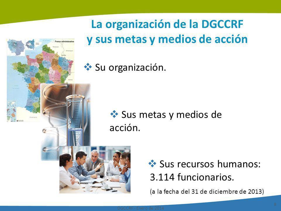 La organización de la DGCCRF y sus metas y medios de acción