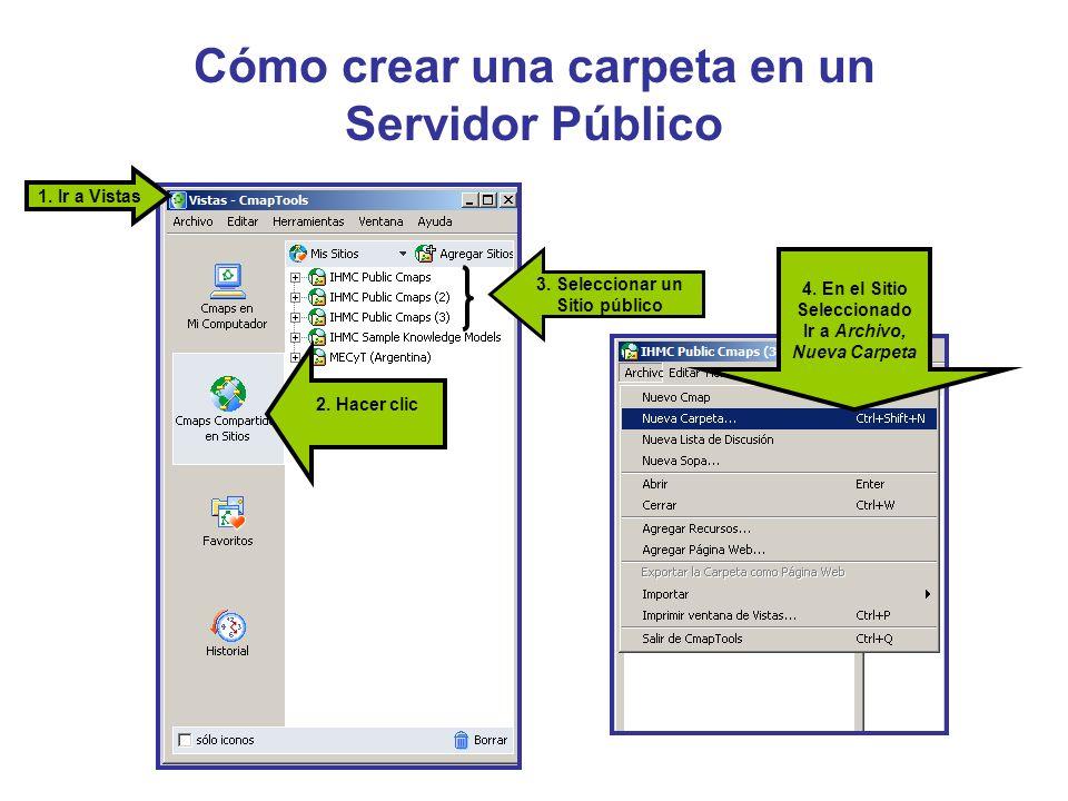 Cómo crear una carpeta en un Servidor Público