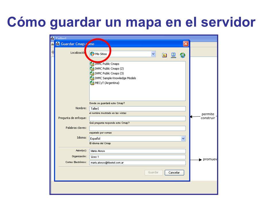 Cómo guardar un mapa en el servidor