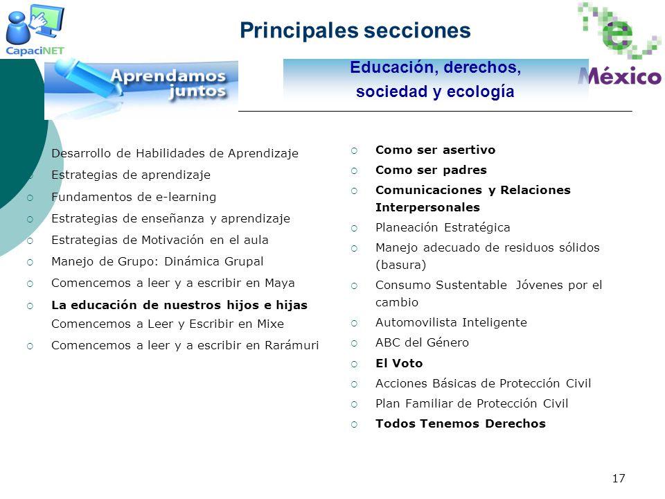 Principales secciones
