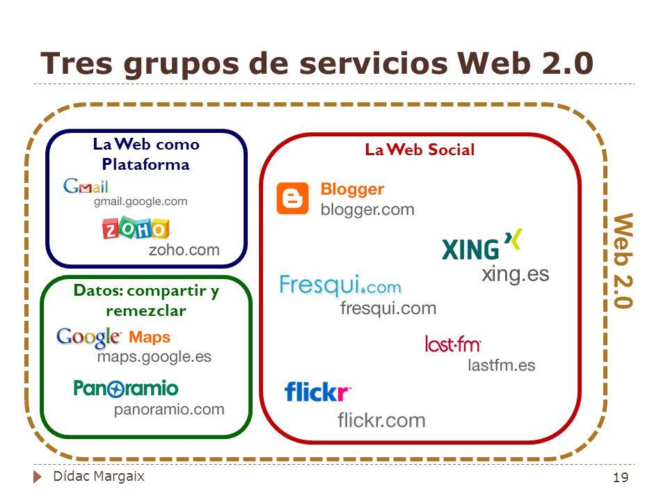 Tres grupos de servicios Web 2.0