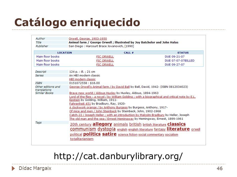 Catálogo enriquecido http://cat.danburylibrary.org/ Dídac Margaix