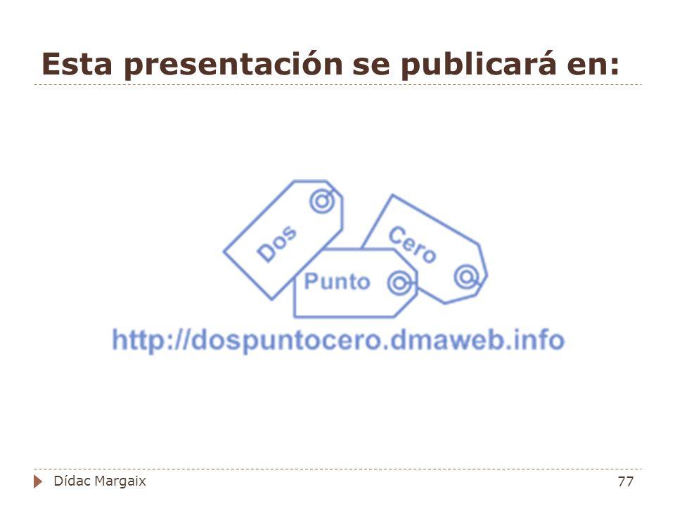 Esta presentación se publicará en: