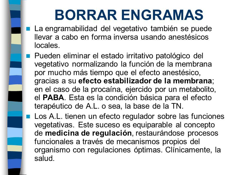 BORRAR ENGRAMAS La engramabilidad del vegetativo también se puede llevar a cabo en forma inversa usando anestésicos locales.