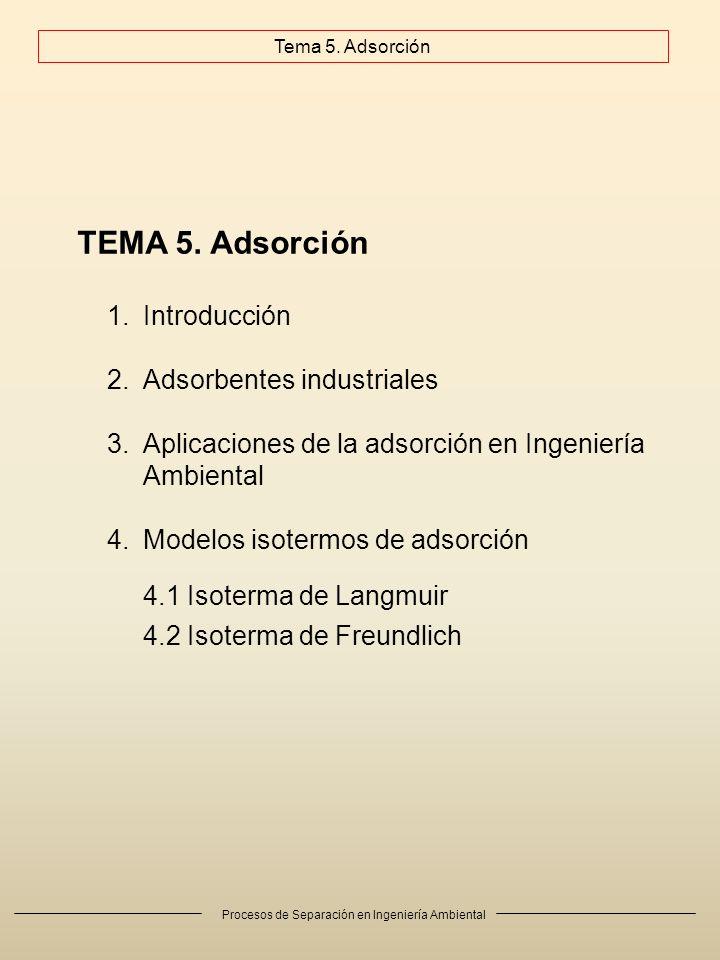 TEMA 5. Adsorción Introducción Adsorbentes industriales