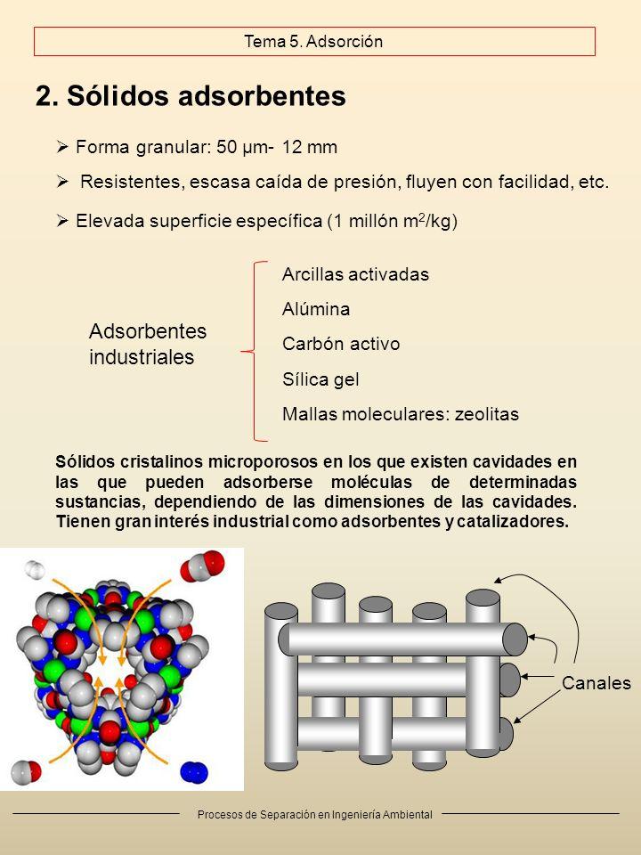 2. Sólidos adsorbentes Adsorbentes industriales