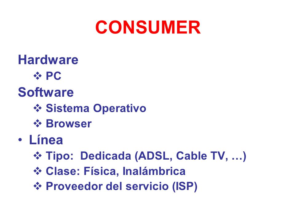 CONSUMER Hardware Software Línea PC Sistema Operativo Browser