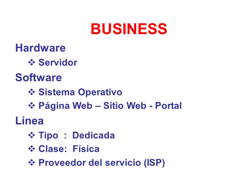 BUSINESS Hardware Software Línea Servidor Sistema Operativo