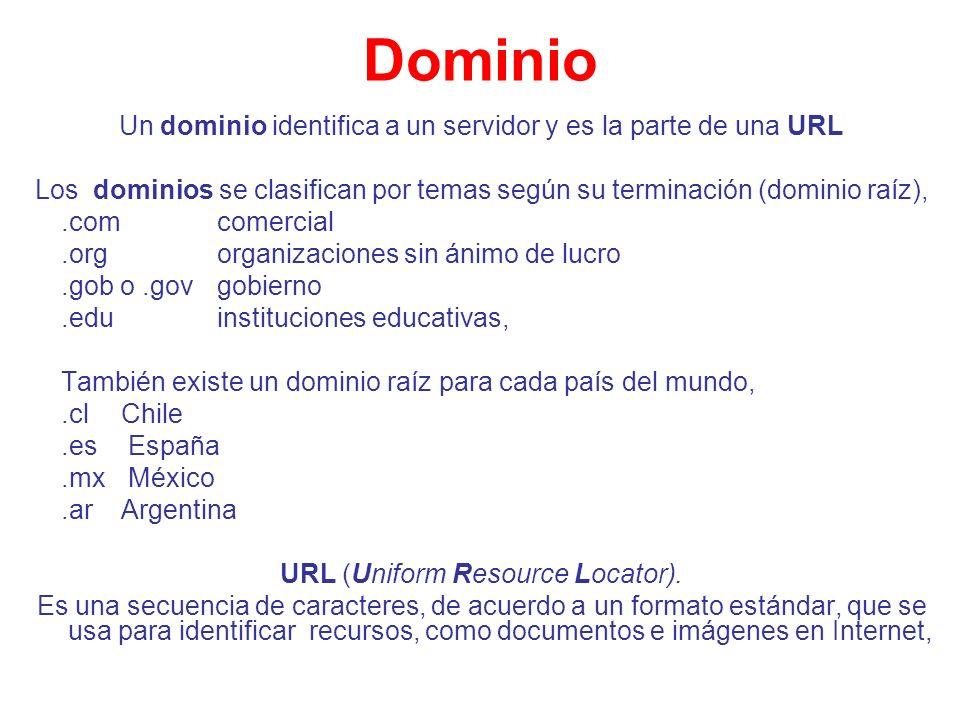 Dominio Un dominio identifica a un servidor y es la parte de una URL
