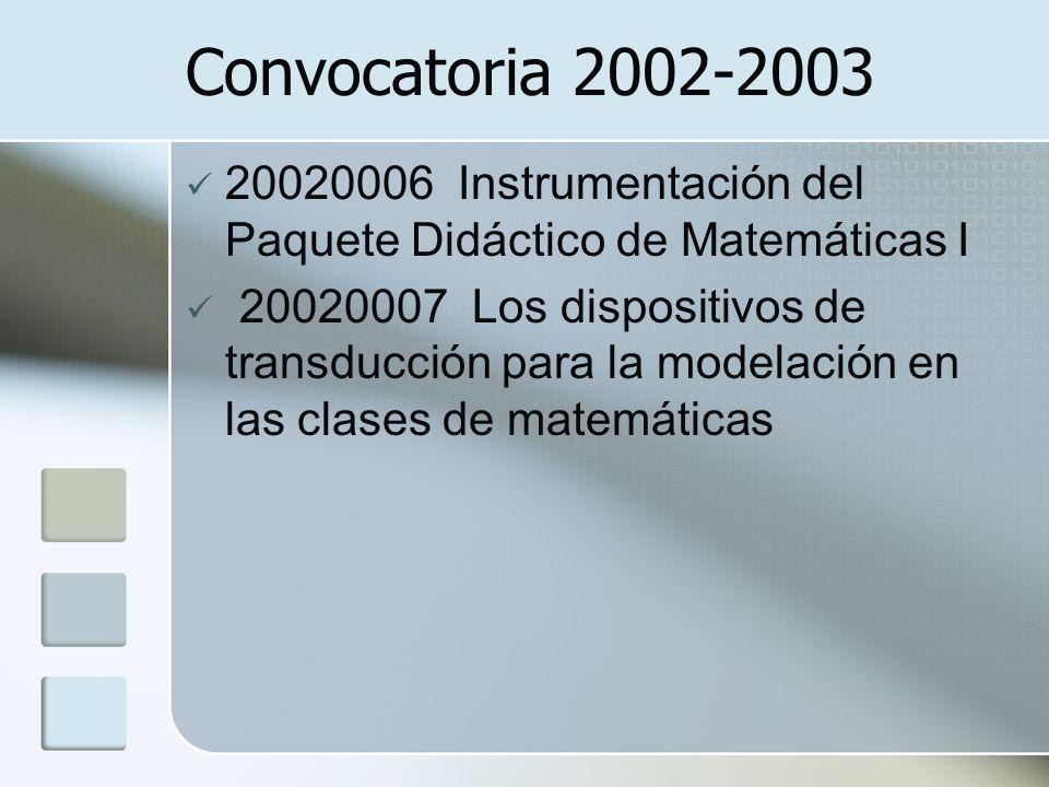 Convocatoria 2002-2003 20020006 Instrumentación del Paquete Didáctico de Matemáticas I.
