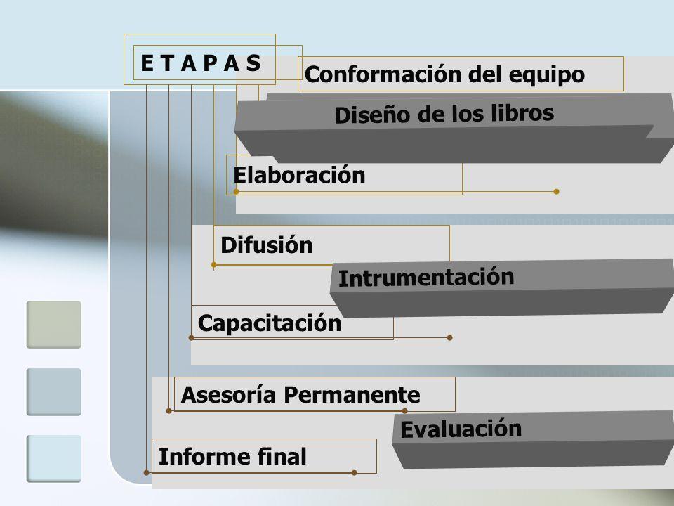 E T A P A S Conformación del equipo. Informe final. Asesoría Permanente. Capacitación. Difusión.