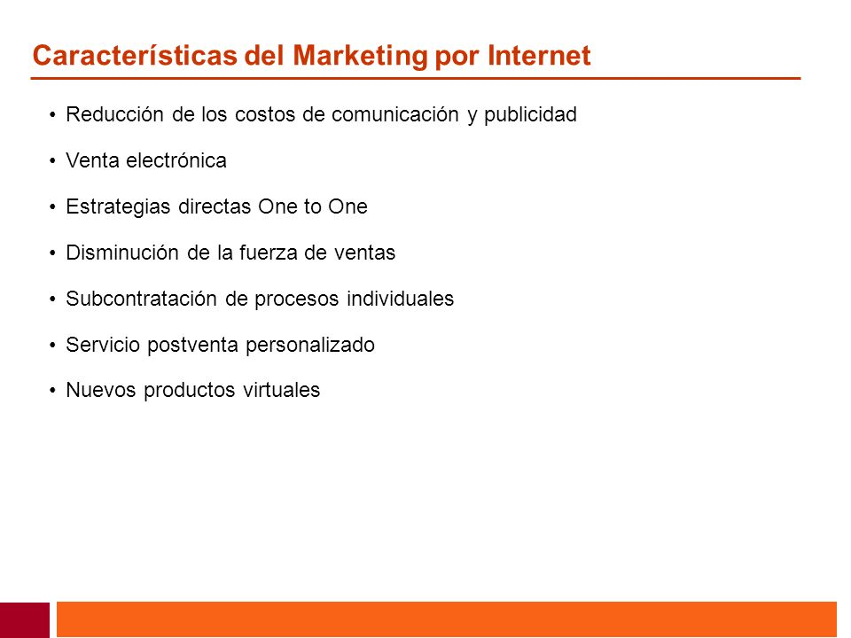 Características del Marketing por Internet