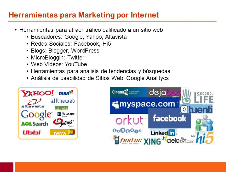 Herramientas para Marketing por Internet