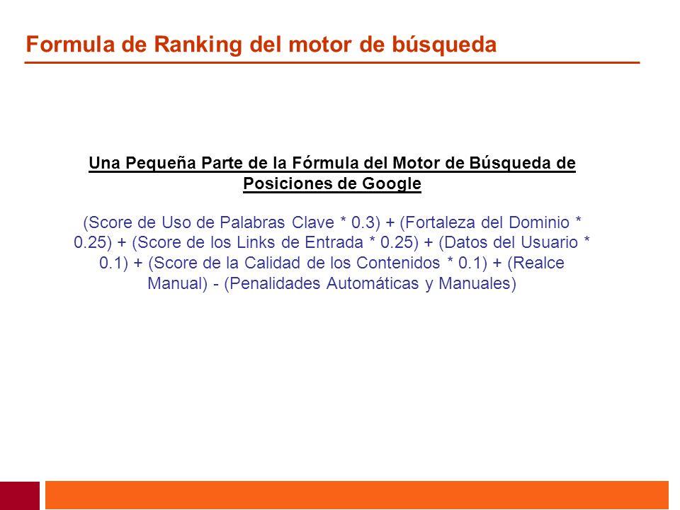 Formula de Ranking del motor de búsqueda