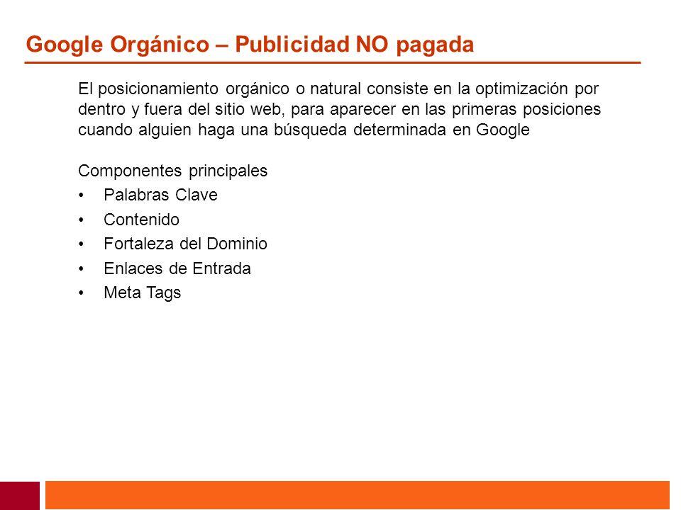 Google Orgánico – Publicidad NO pagada
