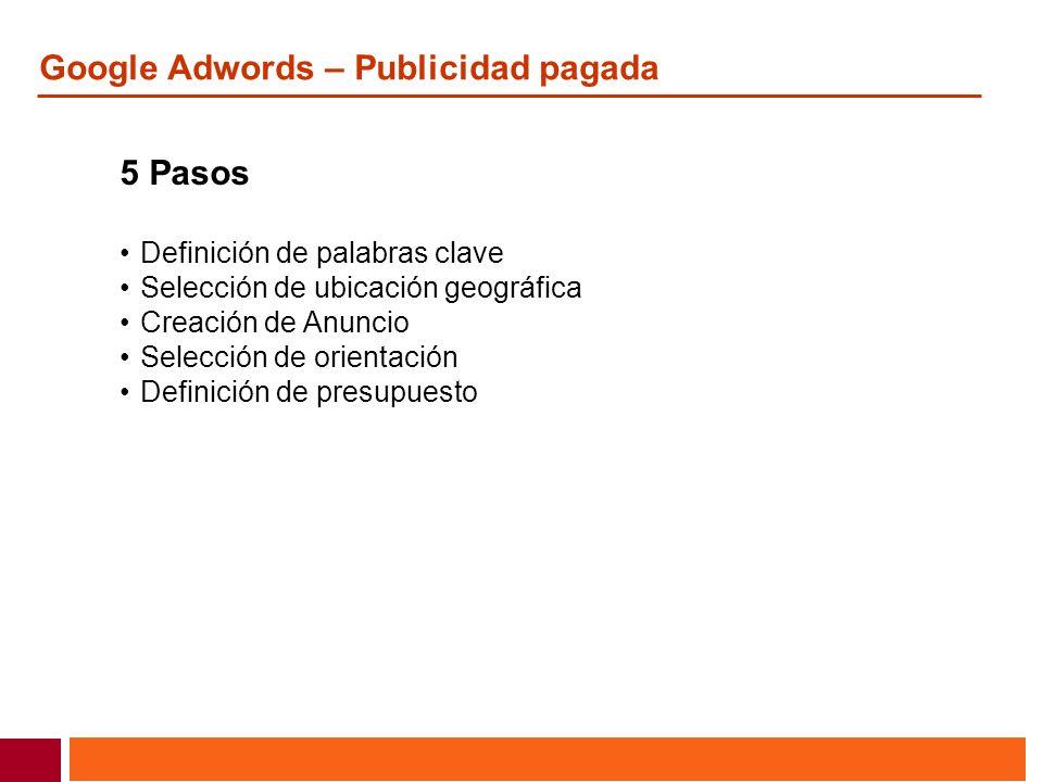 Google Adwords – Publicidad pagada