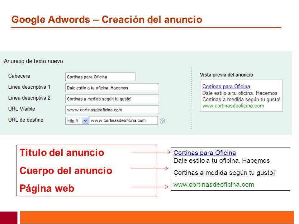 Google Adwords – Creación del anuncio