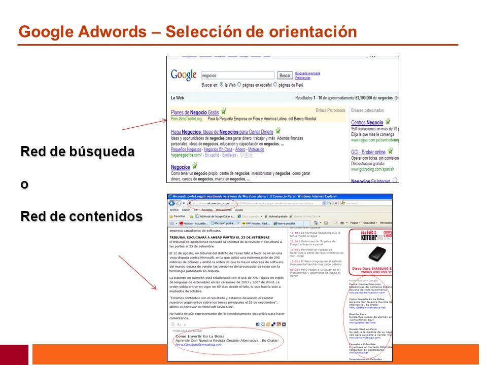 Google Adwords – Selección de orientación