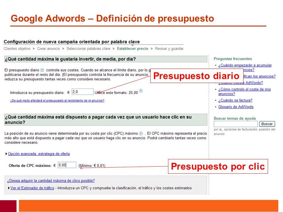 Google Adwords – Definición de presupuesto