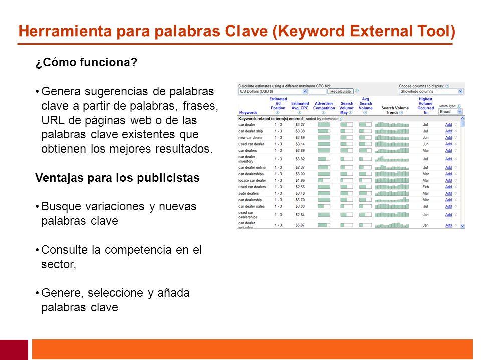 Herramienta para palabras Clave (Keyword External Tool)