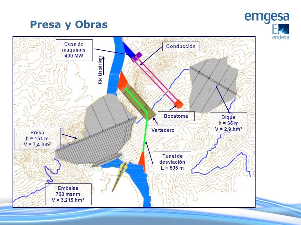 Presa y Obras Casa de máquinas Conducción 400 MW Bocatoma Dique