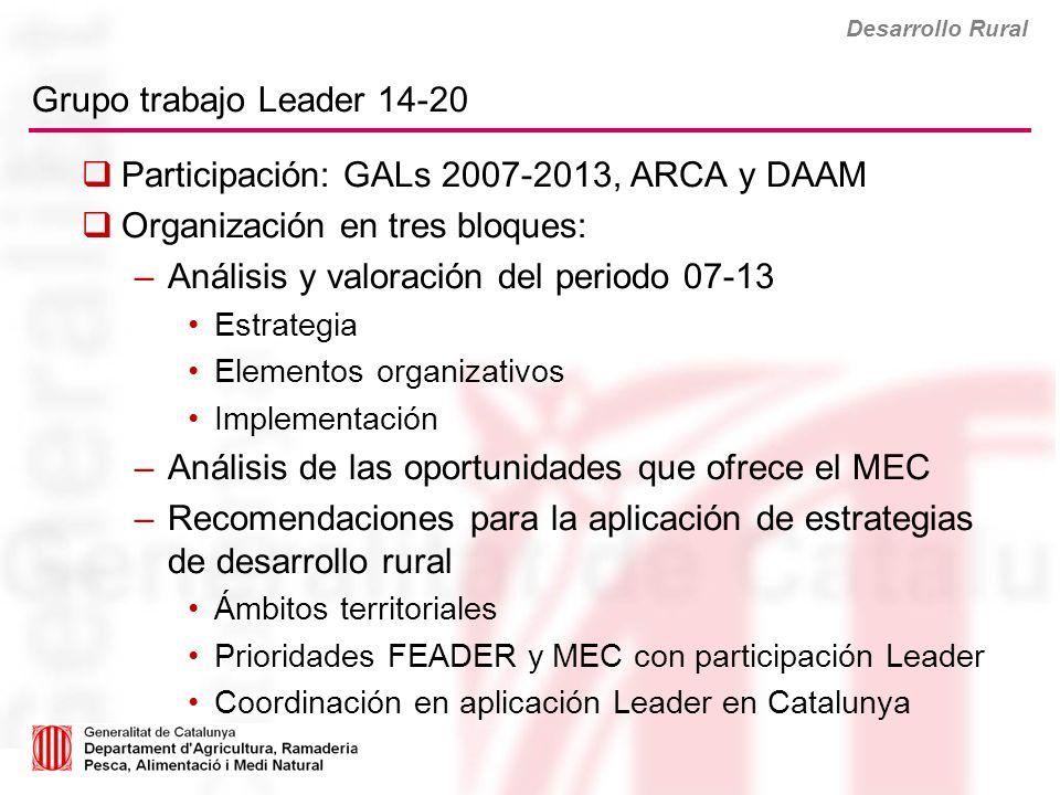 Participación: GALs 2007-2013, ARCA y DAAM