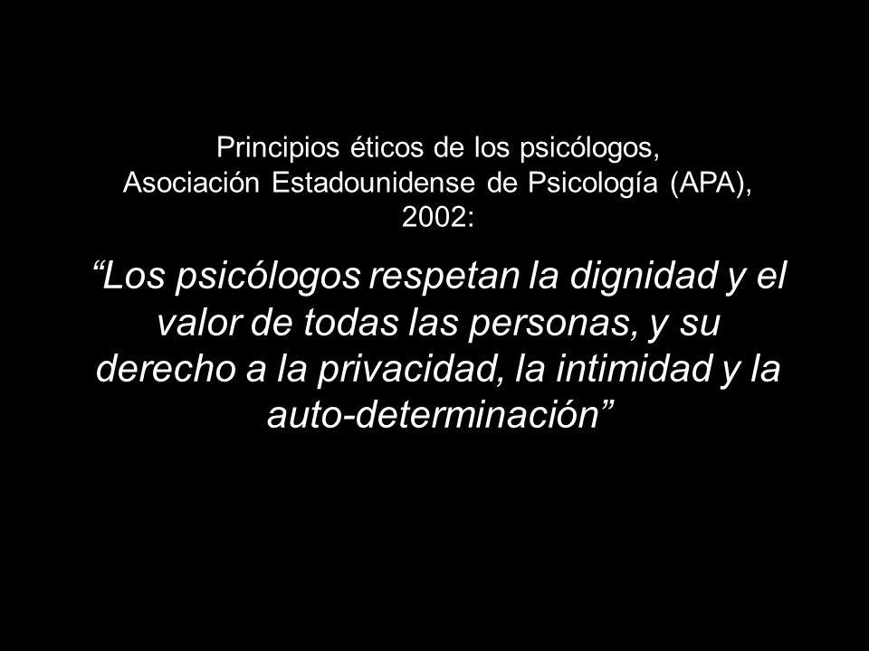 Principios éticos de los psicólogos, Asociación Estadounidense de Psicología (APA), 2002: